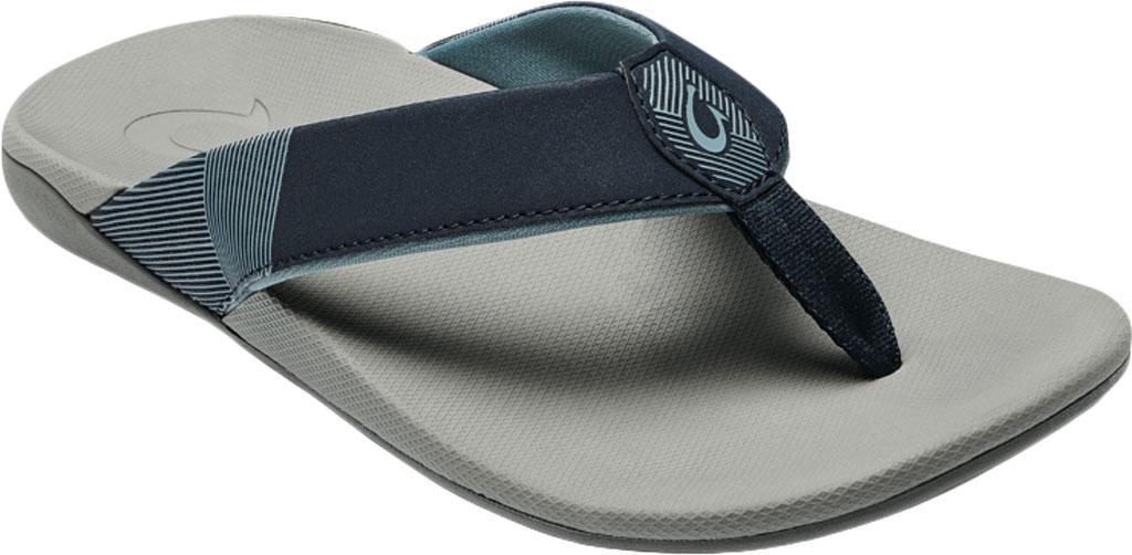 Men's OluKai Malanai Flip Flop, Ombre Blue/Sharkskin Synthetic Nubuck, large, image 1
