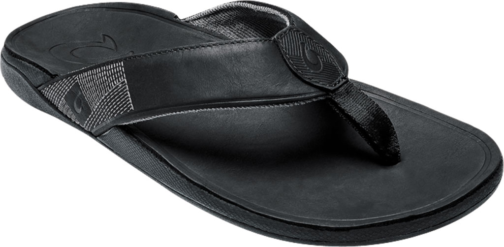 Men's OluKai Tuahine Flip Flop, Black/Black Waterproof Full Grain Leather, large, image 1