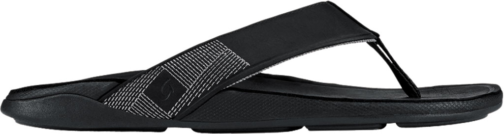 Men's OluKai Tuahine Flip Flop, Black/Black Waterproof Full Grain Leather, large, image 2