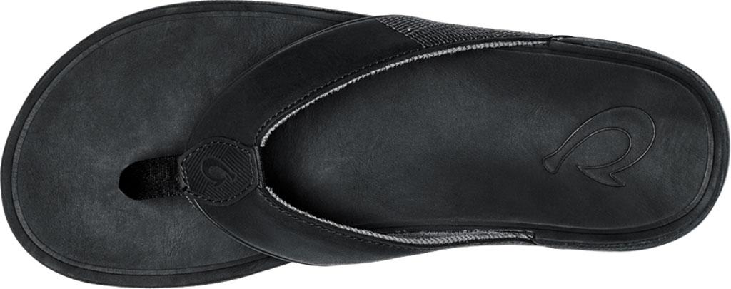 Men's OluKai Tuahine Flip Flop, Black/Black Waterproof Full Grain Leather, large, image 3
