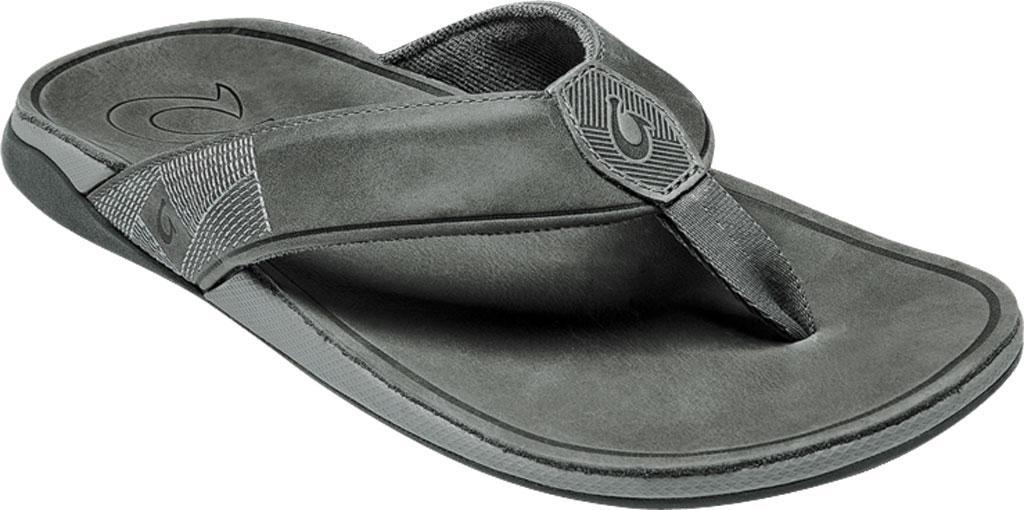 Men's OluKai Tuahine Flip Flop, Stone/Stone Waterproof Full Grain Leather, large, image 1