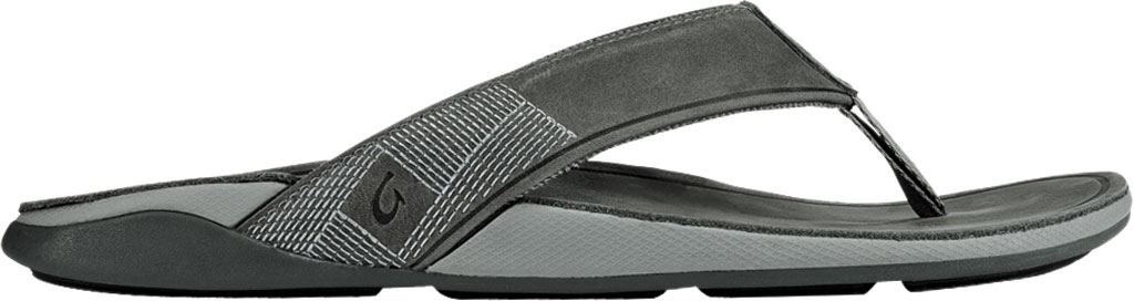 Men's OluKai Tuahine Flip Flop, Stone/Stone Waterproof Full Grain Leather, large, image 2