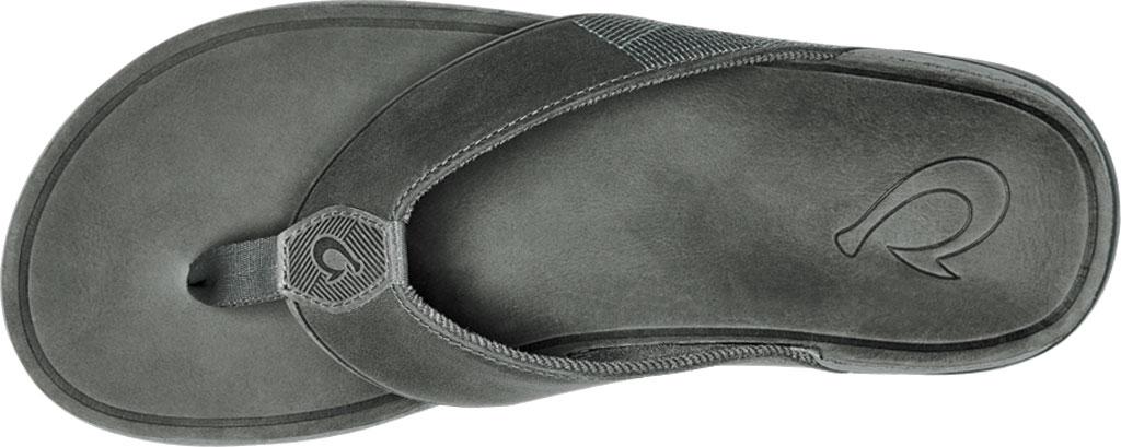 Men's OluKai Tuahine Flip Flop, Stone/Stone Waterproof Full Grain Leather, large, image 3