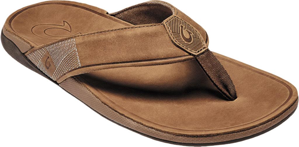 Men's OluKai Tuahine Flip Flop, Toffee/Toffee Waterproof Full Grain Leather, large, image 1