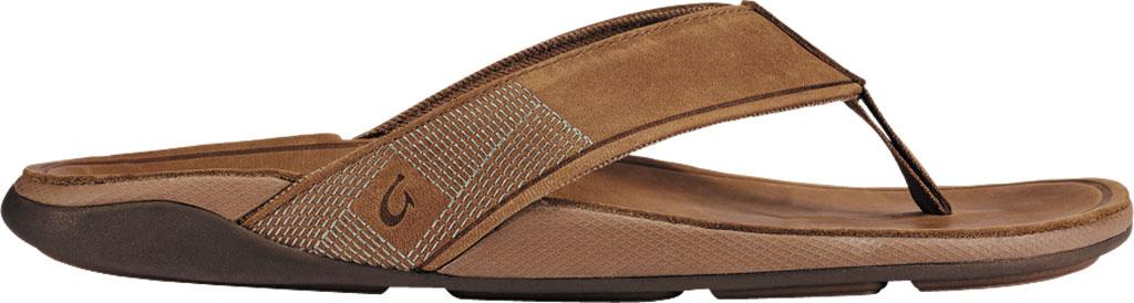 Men's OluKai Tuahine Flip Flop, Toffee/Toffee Waterproof Full Grain Leather, large, image 2