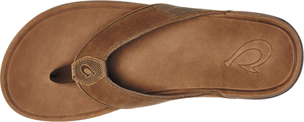Men's OluKai Tuahine Flip Flop, Toffee/Toffee Waterproof Full Grain Leather, large, image 3