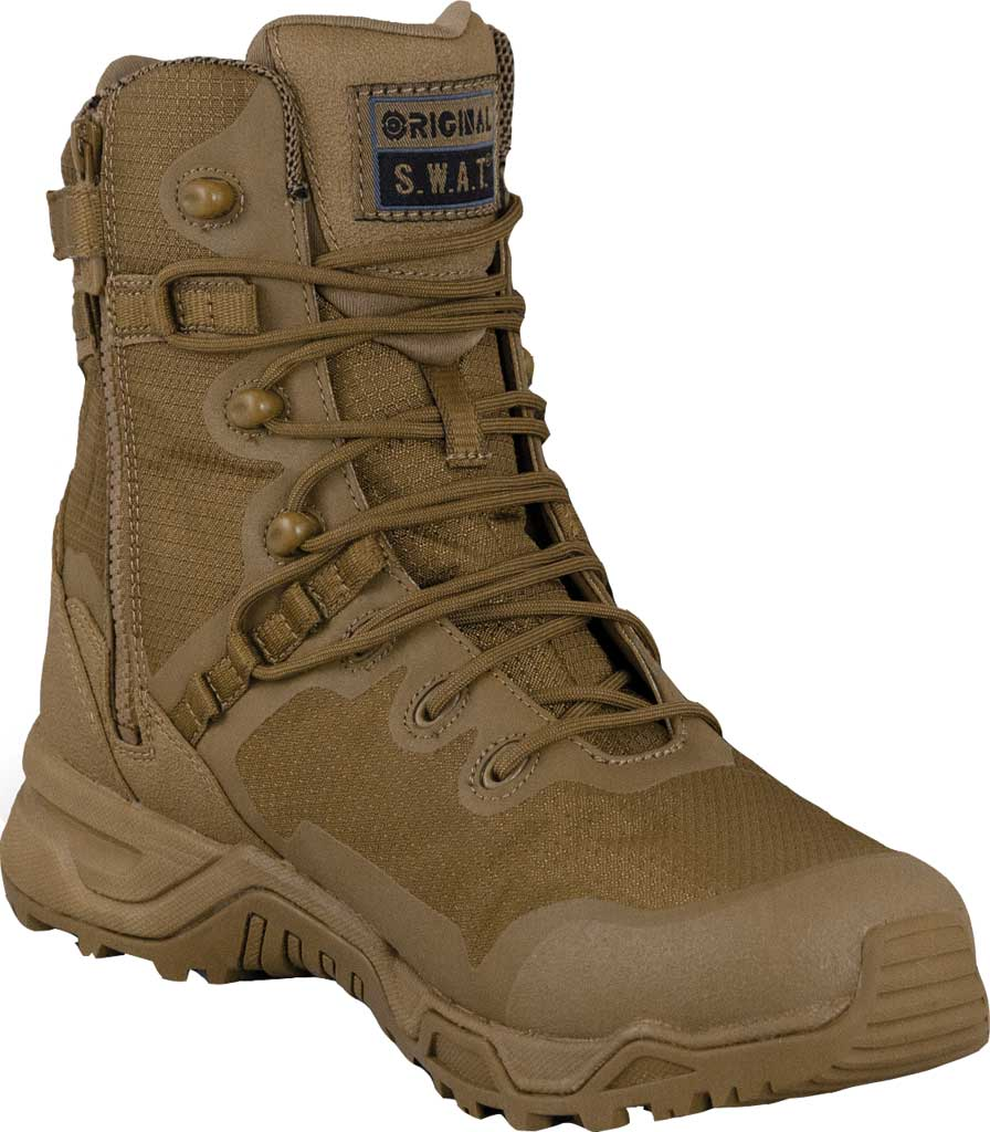 """Men's Original S.W.A.T. Alpha Fury 8"""" Side-Zip Military Boot, Coyote Air Mesh, large, image 1"""