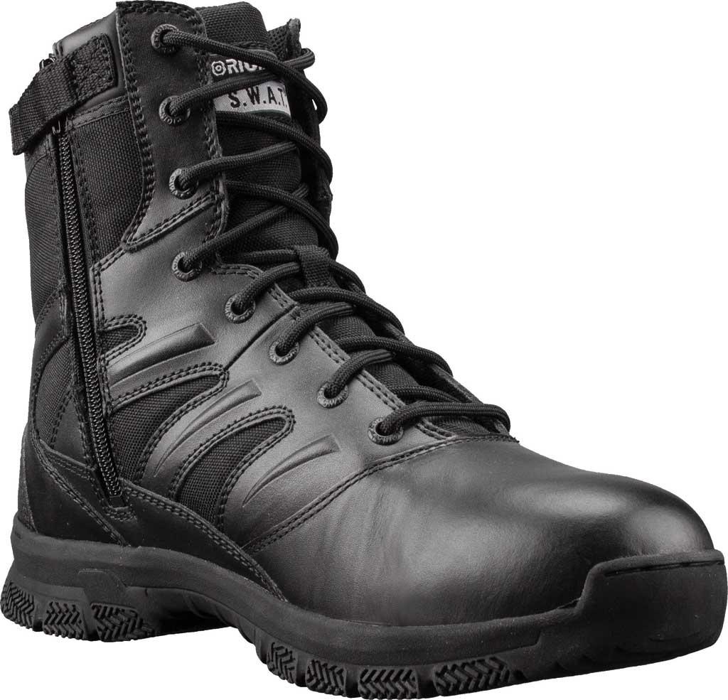 "Men's Original S.W.A.T. Force 8"" Side-Zip Work Boot, Black Full Grain Leather/Cordura 1000 Denier Nylon, large, image 1"