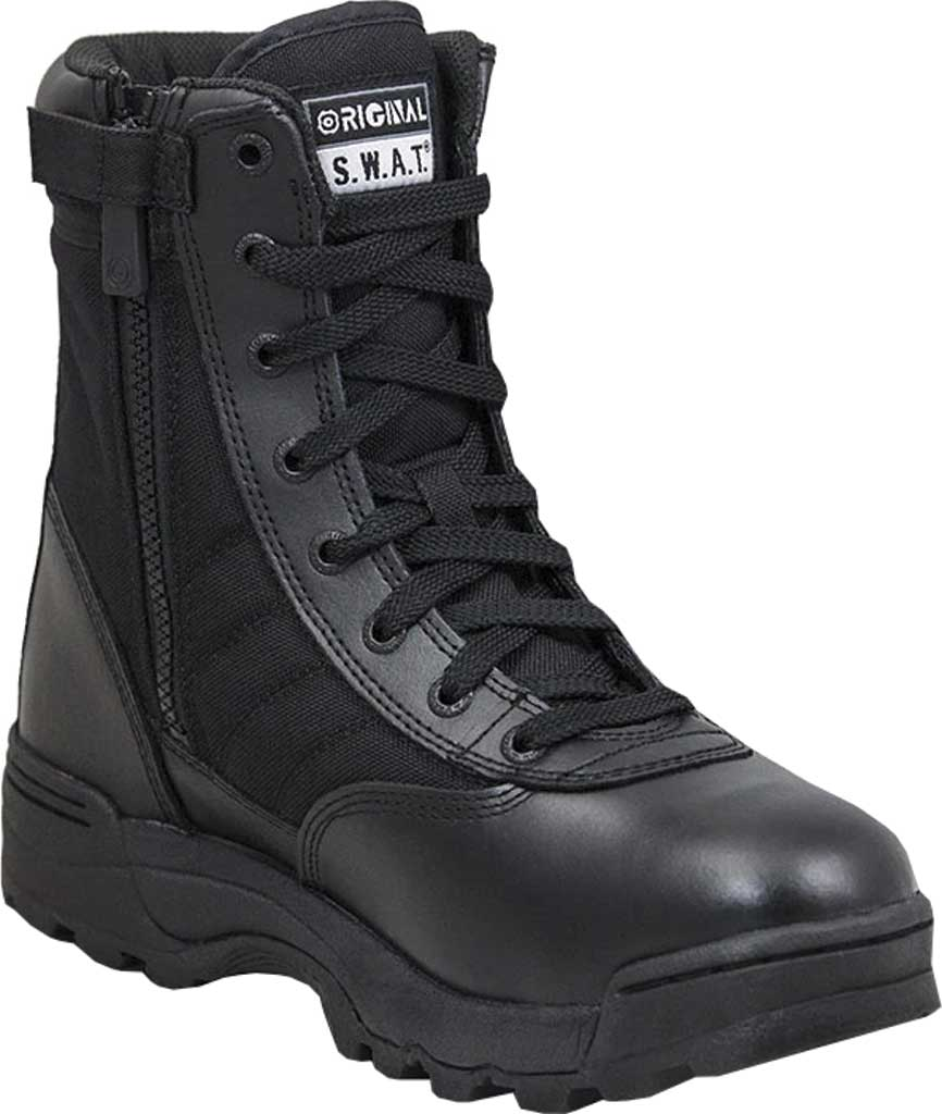 "Men's Original S.W.A.T. Classic 9"" Side-Zip Work Boot, Black Leather/Cordura 1000 Denier Nylon, large, image 1"