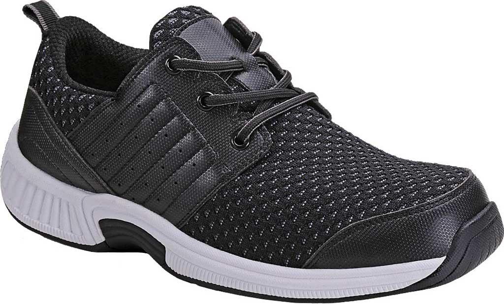 Men's Orthofeet Tacoma Sneaker, Black Synthetic, large, image 1