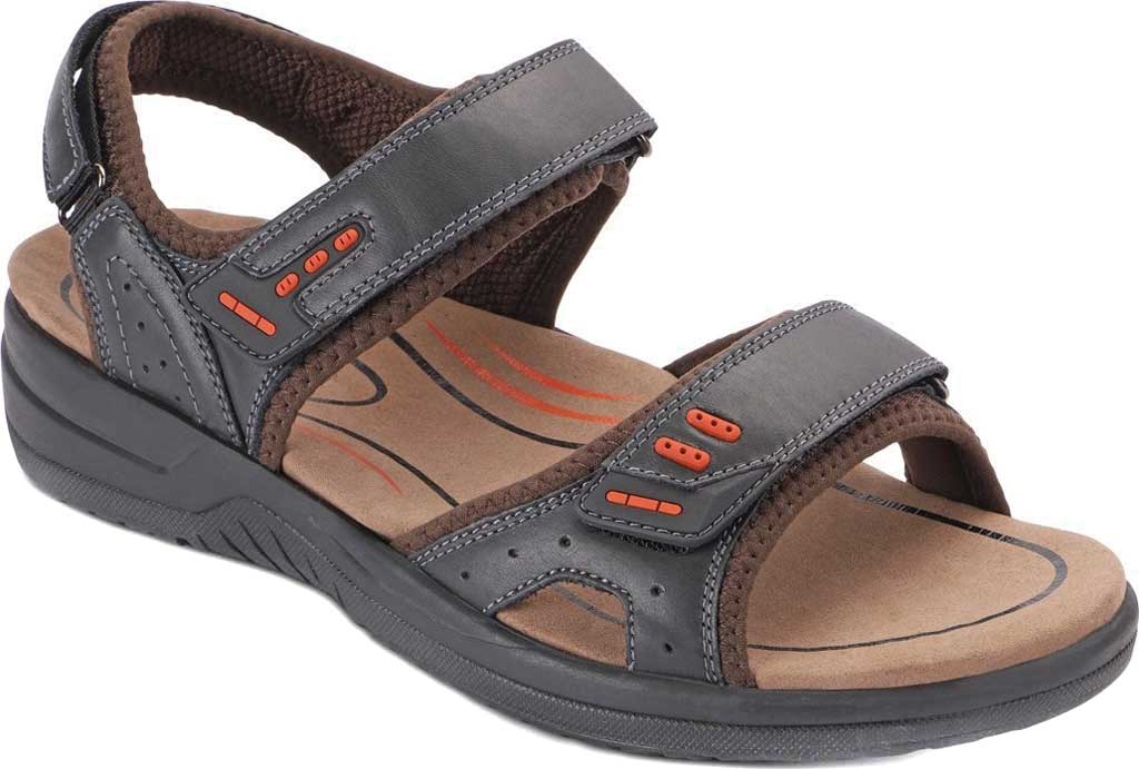 Men's Orthofeet Cambria Sandal, Black Full Grain Leather, large, image 1