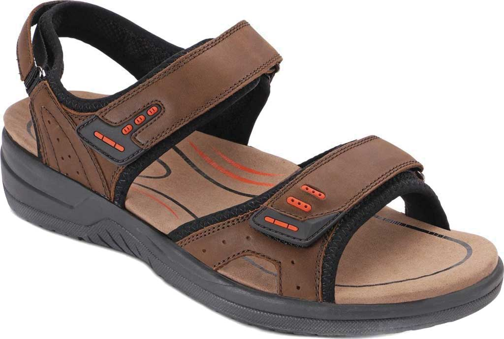 Men's Orthofeet Cambria Sandal, Brown Full Grain Leather, large, image 1