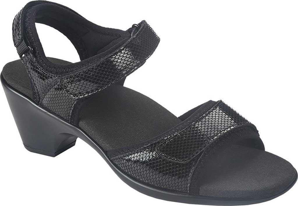 Women's Orthofeet Camille Two Piece Sandal, Black Full Grain Leather, large, image 1