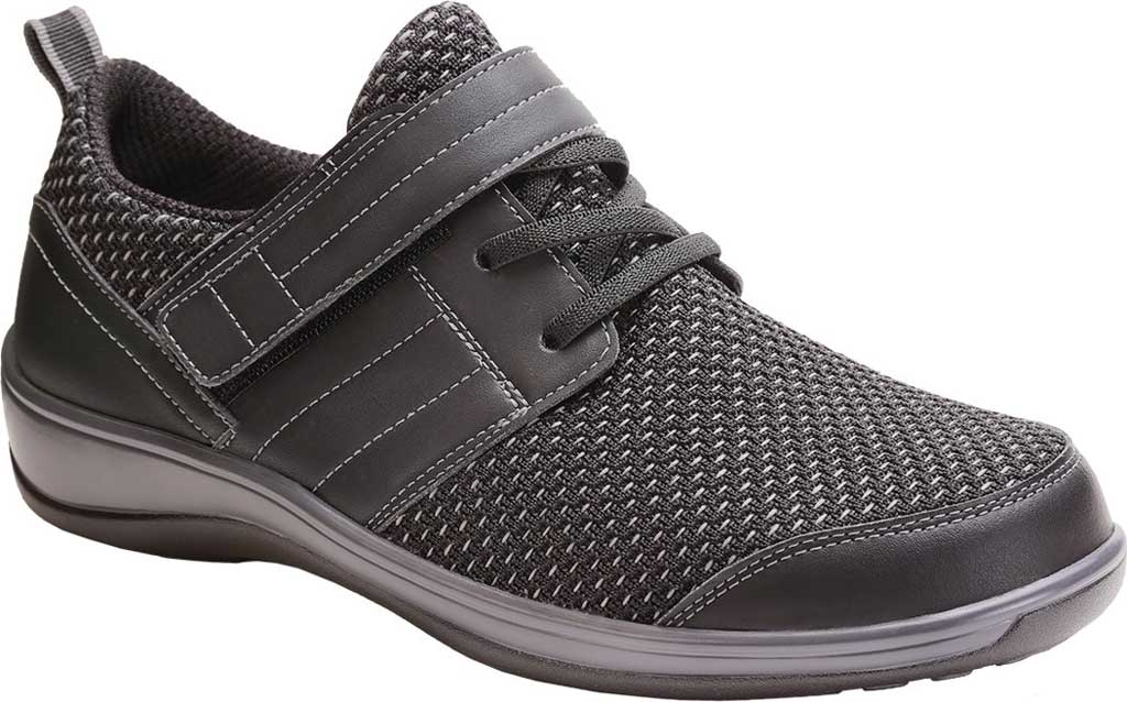 Women's Orthofeet Narine Sneaker, Black Synthetic Leather, large, image 1