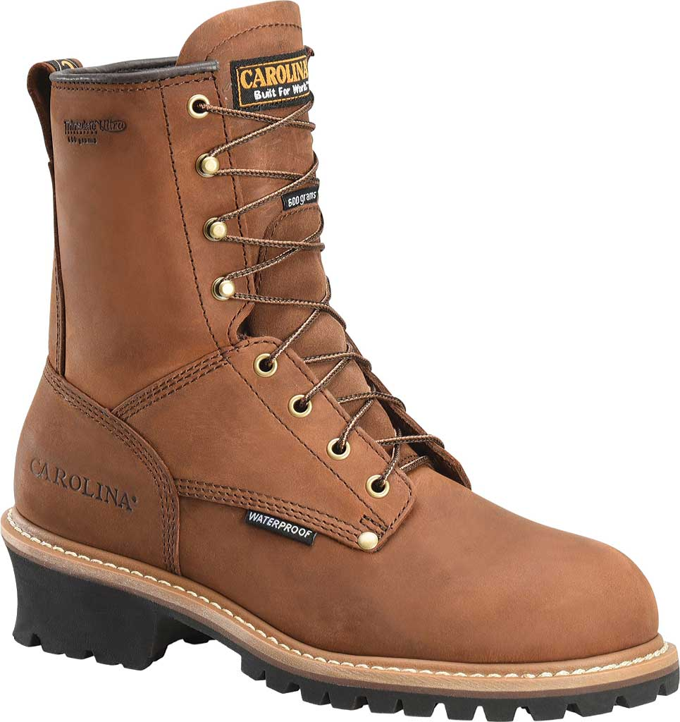 "Men's Carolina 8"" Plain Toe Logger Waterproof Boot, , large, image 1"
