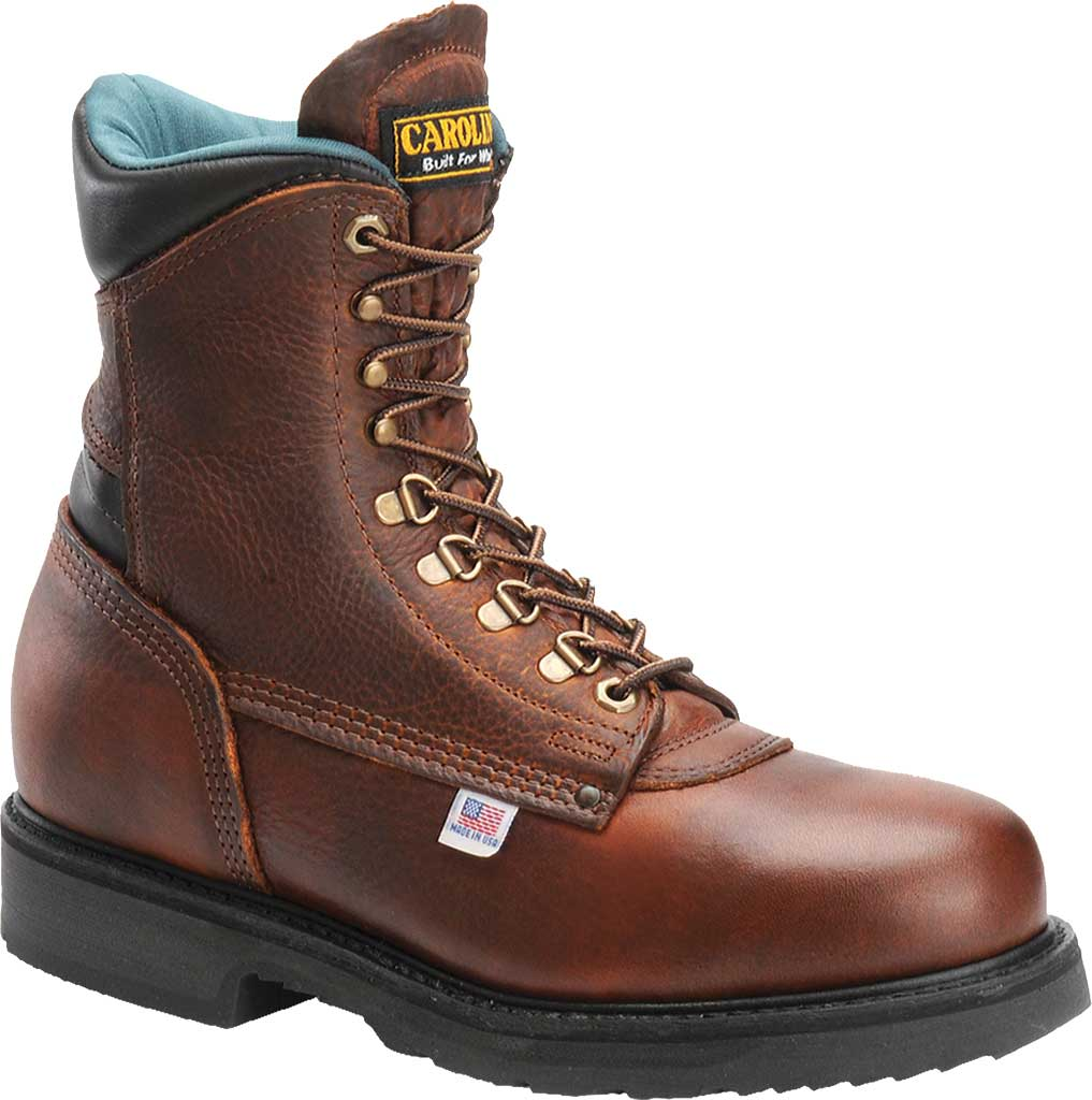 "Men's Carolina Domestic 8"" Plain Toe Steel Toe Boot 1809, Amber Gold Leather, large, image 1"