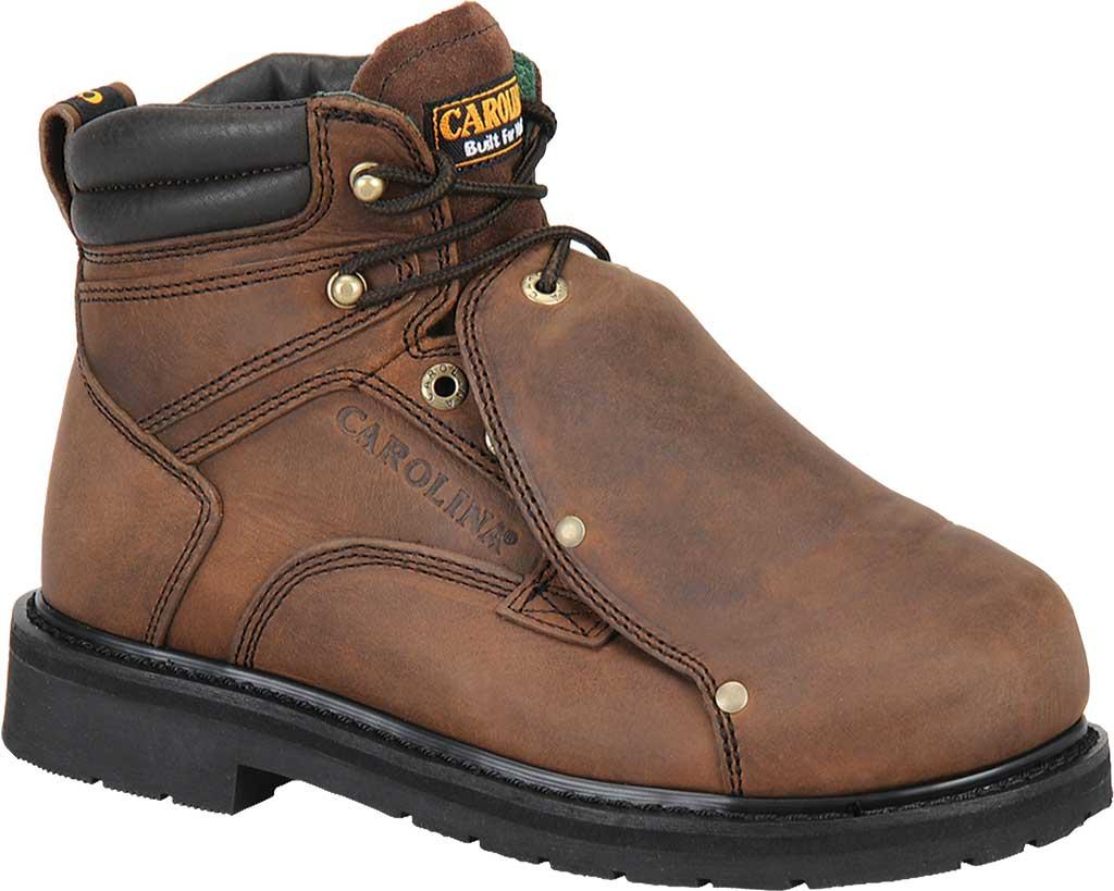 "Men's Carolina 6"" Metatarsal Steel Toe 599 Boot, Dark Brown Leather, large, image 1"