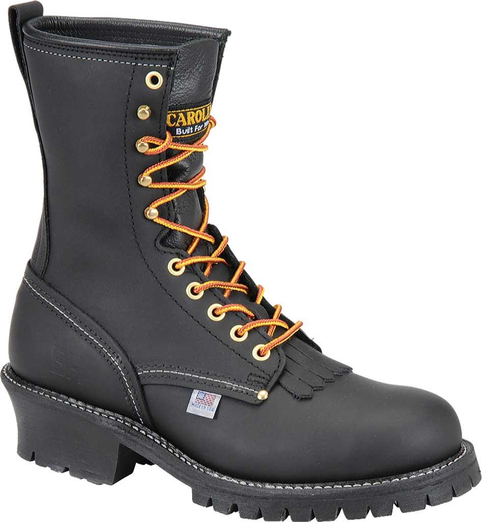 """Men's Carolina Domestic 9"""" EH Plain Toe Logger 922, Black Leather, large, image 1"""