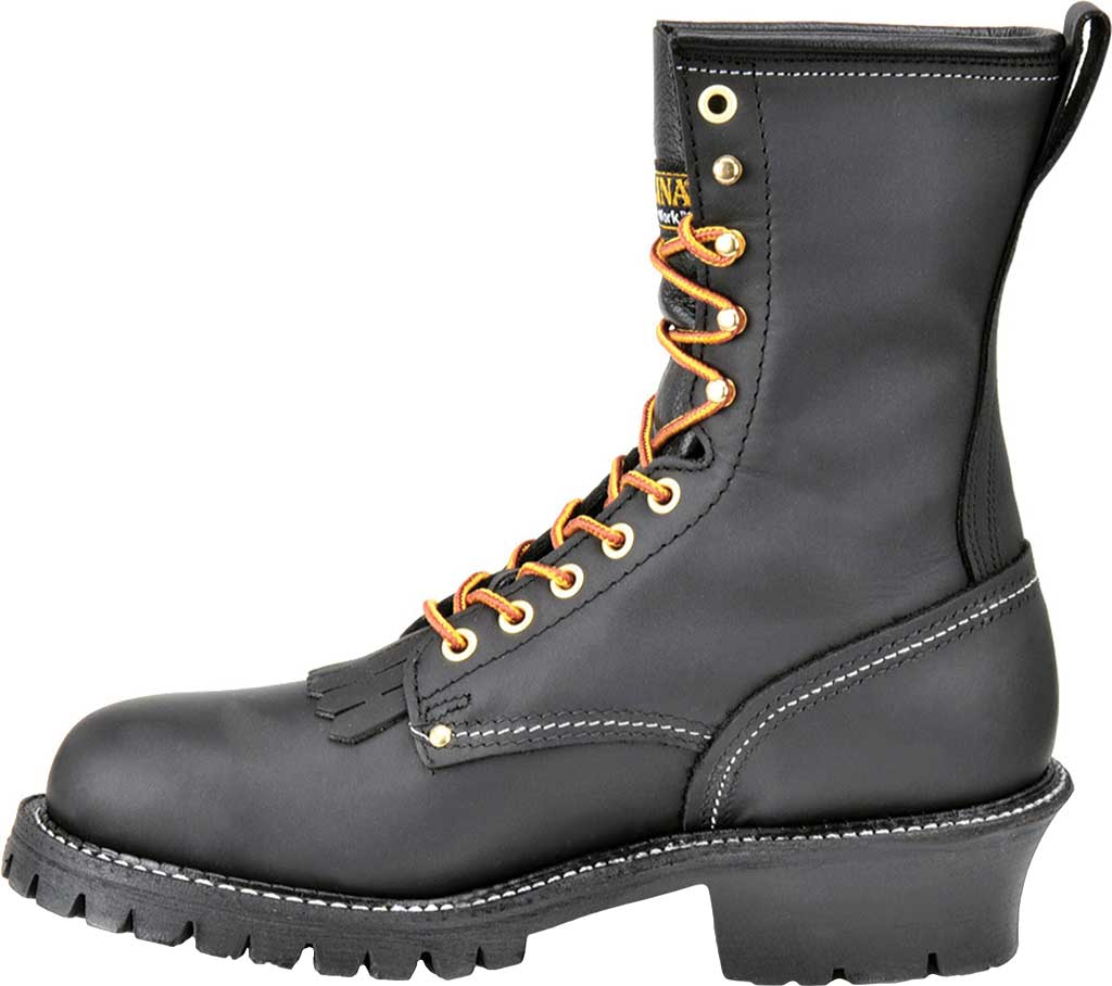 """Men's Carolina Domestic 9"""" EH Plain Toe Logger 922, Black Leather, large, image 2"""