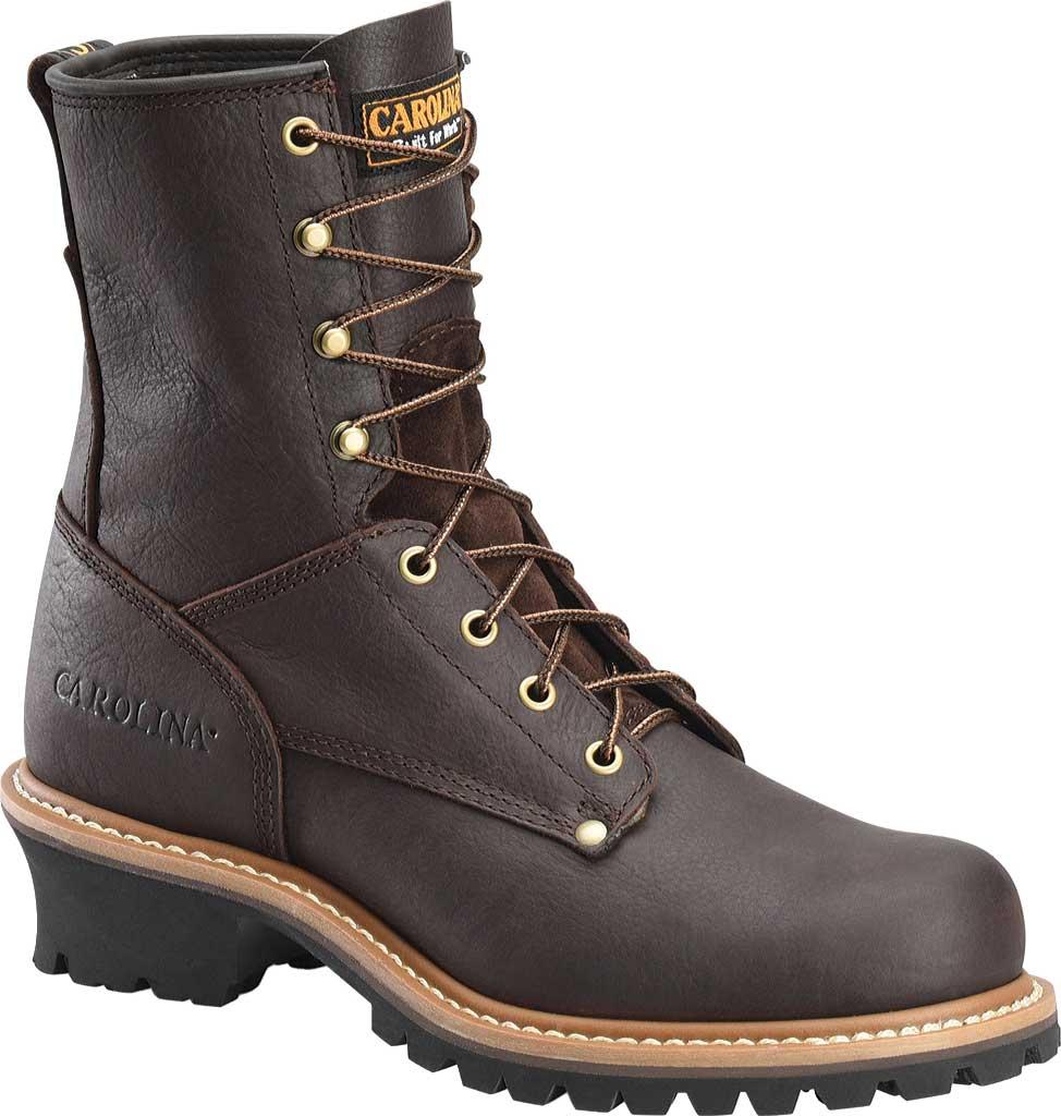 """Men's Carolina 8"""" Plain Toe Logger 821, Briar Leather, large, image 1"""