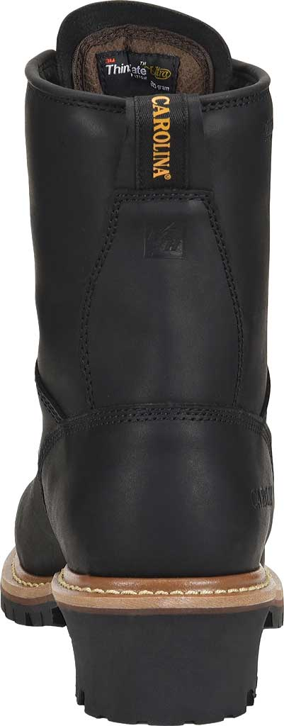 Men's Carolina ST 600G Plain Toe Logger 8, Black Leather, large, image 3