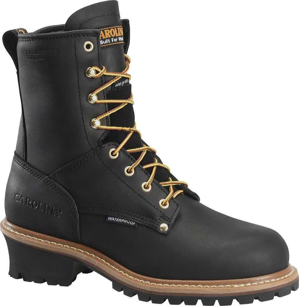 Men's Carolina 600G Plain Toe Logger 8, Black Leather, large, image 1