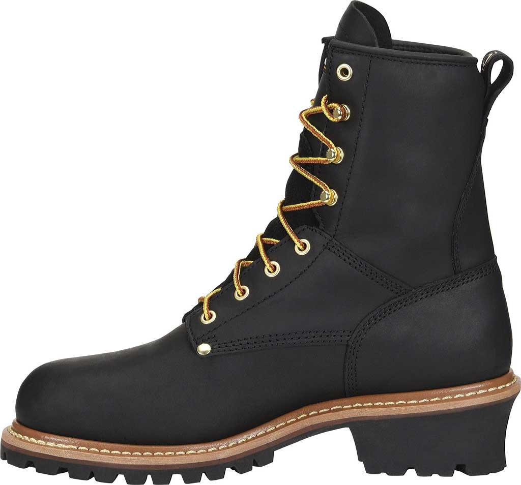 Men's Carolina 600G Plain Toe Logger 8, Black Leather, large, image 2