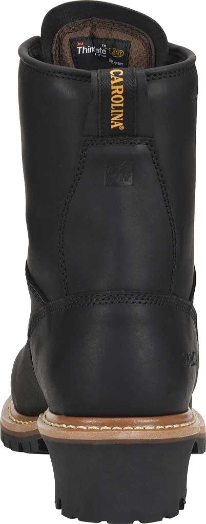 Men's Carolina 600G Plain Toe Logger 8, Black Leather, large, image 3