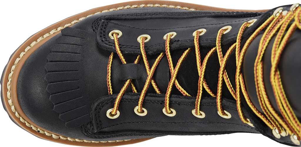 Men's Carolina 600G Plain Toe Logger 8, Black Leather, large, image 4