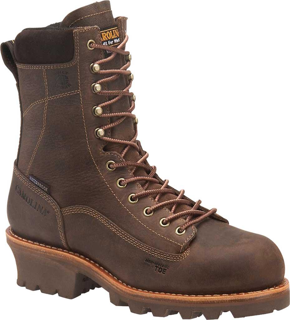 "Men's Carolina 8"" Insulated Waterproof CT Logger CA7521 Boot, Medium Brown, large, image 1"