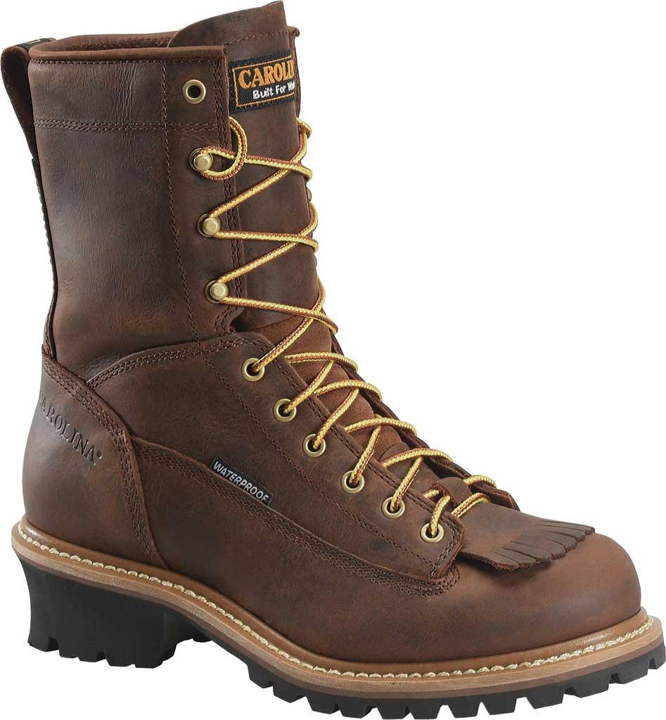 "Men's Carolina 8"" Waterproof Steel Toe Logger CA9824, Dark Brown, large, image 1"