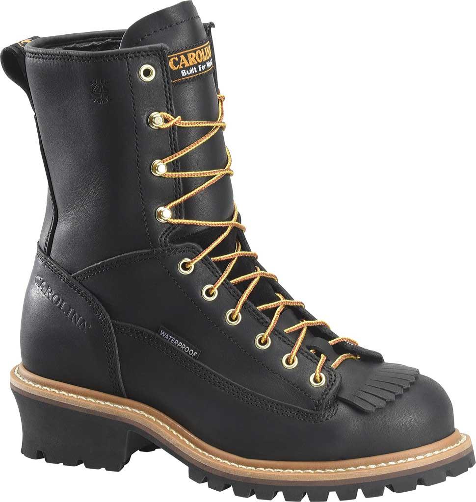 "Men's Carolina 8"" Waterproof Steel Toe Logger Boot CA9825, Black, large, image 1"