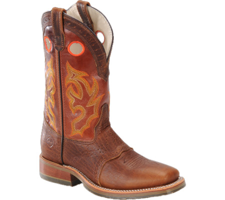 """Men's Double H 13"""" Domestic Wide Square Toe ICE Roper, Peanut Bison/Mont Blanc Leather, large, image 1"""