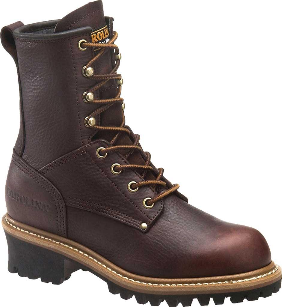 "Women's Carolina 8"" Steel Toe Logger CA1421 Boot, Dark Brown Soggy Leather, large, image 1"