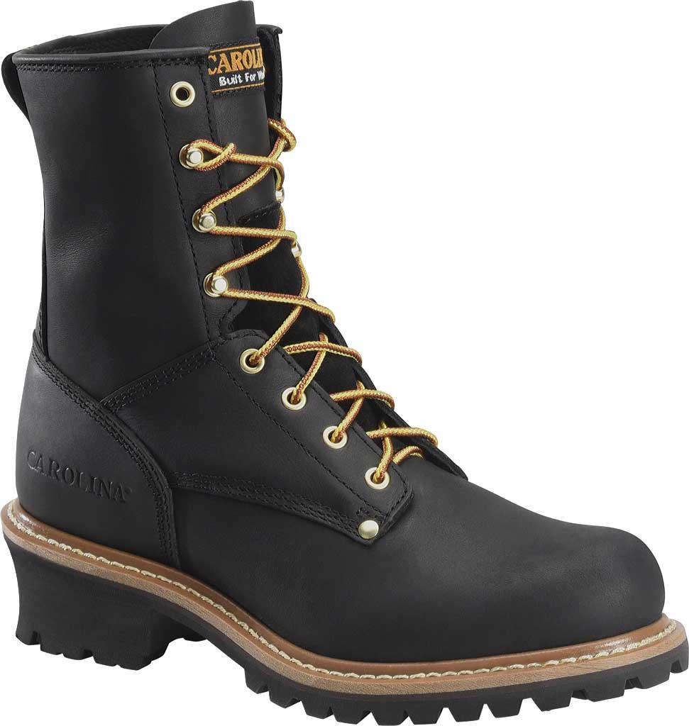 """Men's Carolina 8"""" Plain Toe Logger CA825, Black Full Grain Leather, large, image 1"""