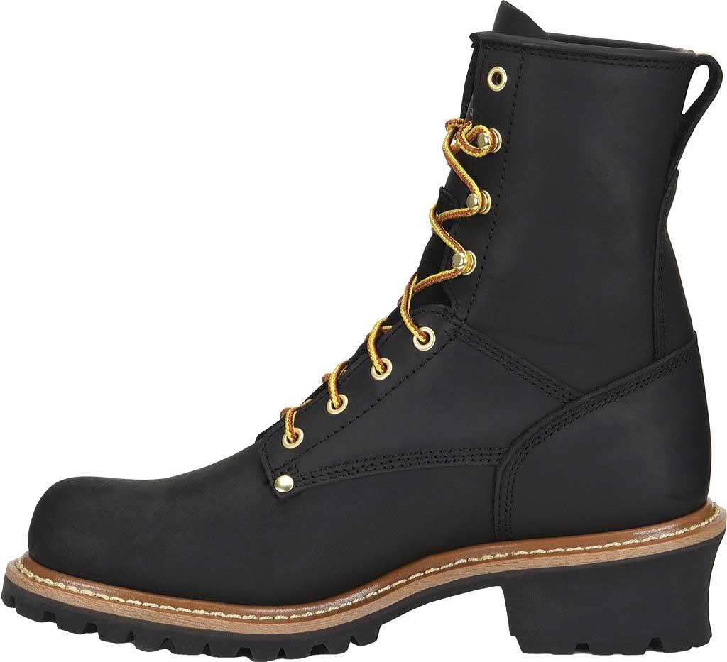 """Men's Carolina 8"""" Plain Toe Logger CA825, Black Full Grain Leather, large, image 2"""
