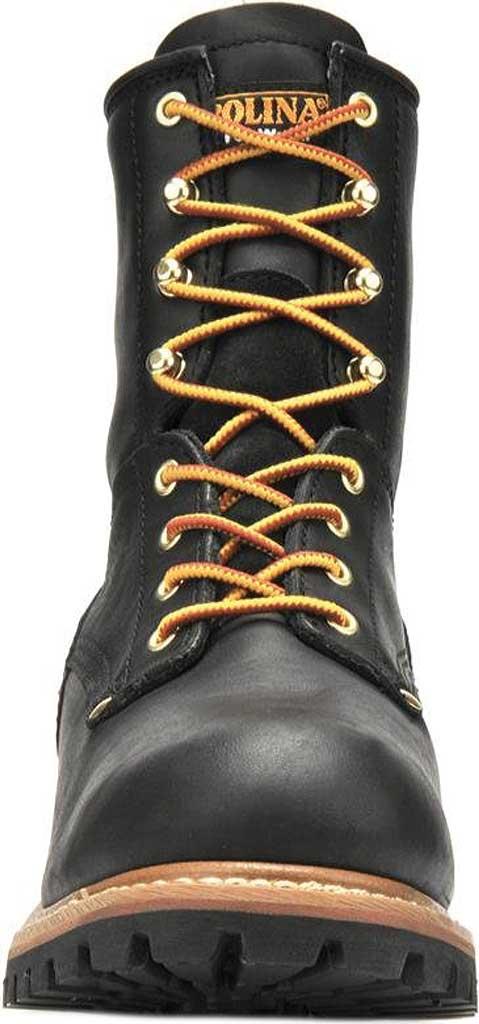 """Men's Carolina 8"""" Plain Toe Logger CA825, Black Full Grain Leather, large, image 3"""