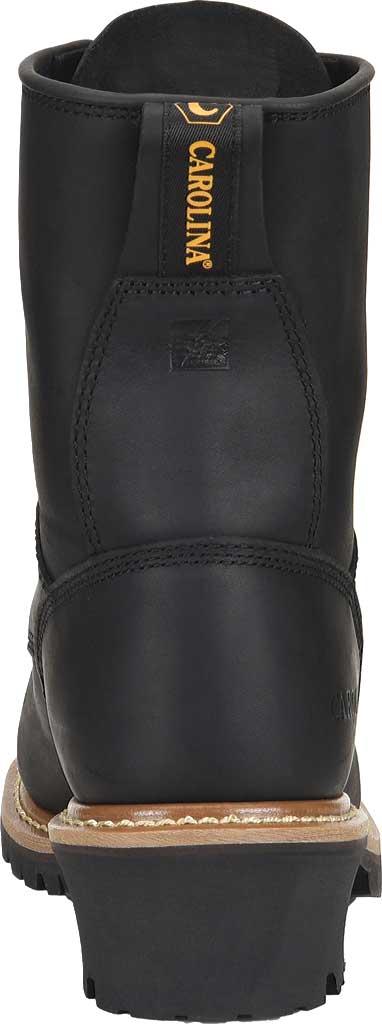 """Men's Carolina 8"""" Plain Toe Logger CA825, Black Full Grain Leather, large, image 4"""