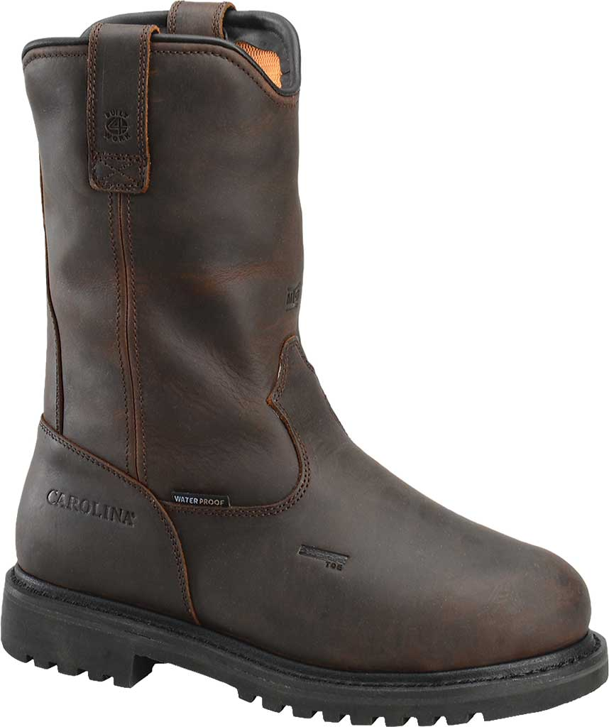 Men's Carolina Waterproof Aluminum Toe Metguard Wellington, Dark Brown Crazy Horse Leather, large, image 1