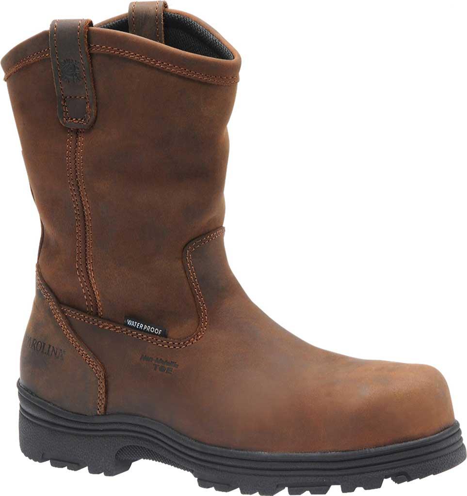 Men's Carolina Waterproof Composite Toe Wellington, Dark Brown Crazy Horse Leather, large, image 1