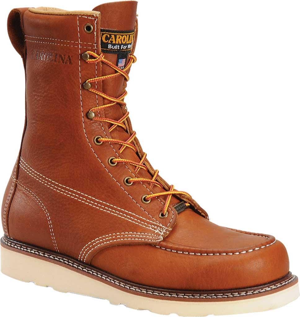 "Men's Carolina 8"" Domestic Steel Moc Toe Wedge Work Boot, Dark Brown Leather, large, image 1"