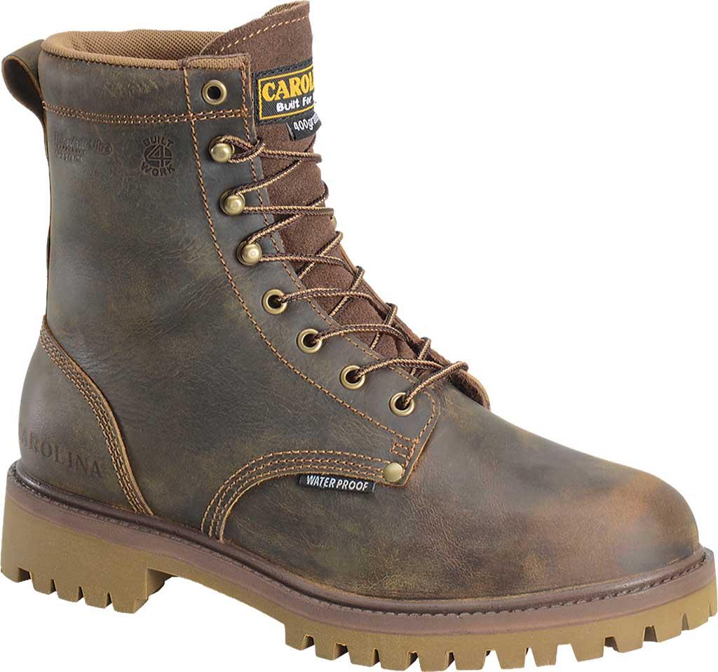 "Men's Carolina 8"" Waterproof 400G Insulated Steel Toe Work Boot, Medium Brown Leather, large, image 1"