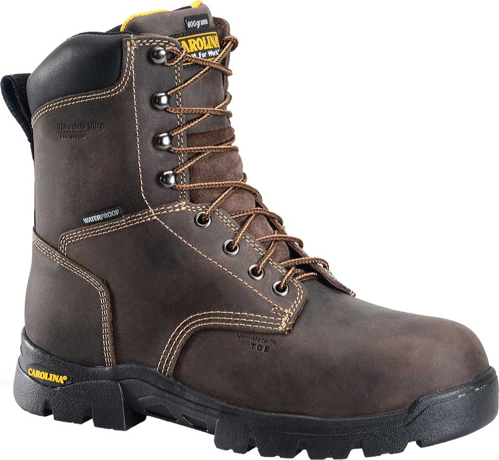 "Men's Carolina 8"" Waterproof Insulated Composite Toe Work Boot, Dark Brown, large, image 1"