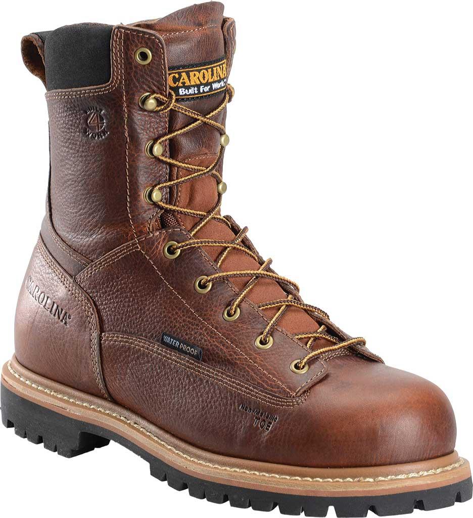 "Men's Carolina CA5529 8"" Waterproof Composite Toe Work Boot, Brown Leather, large, image 1"