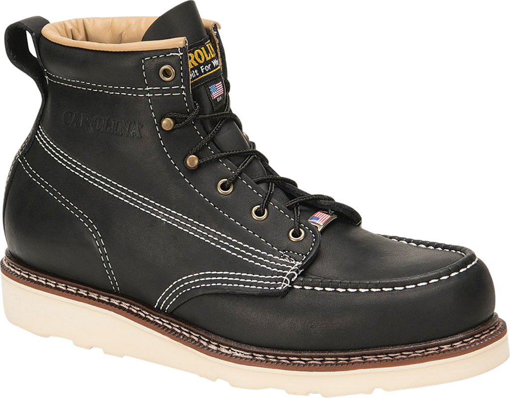 "Men's Carolina CA7012 6"" Amp USA Moc Tie Wedge Work Boot, Black Stampede Leather, large, image 1"