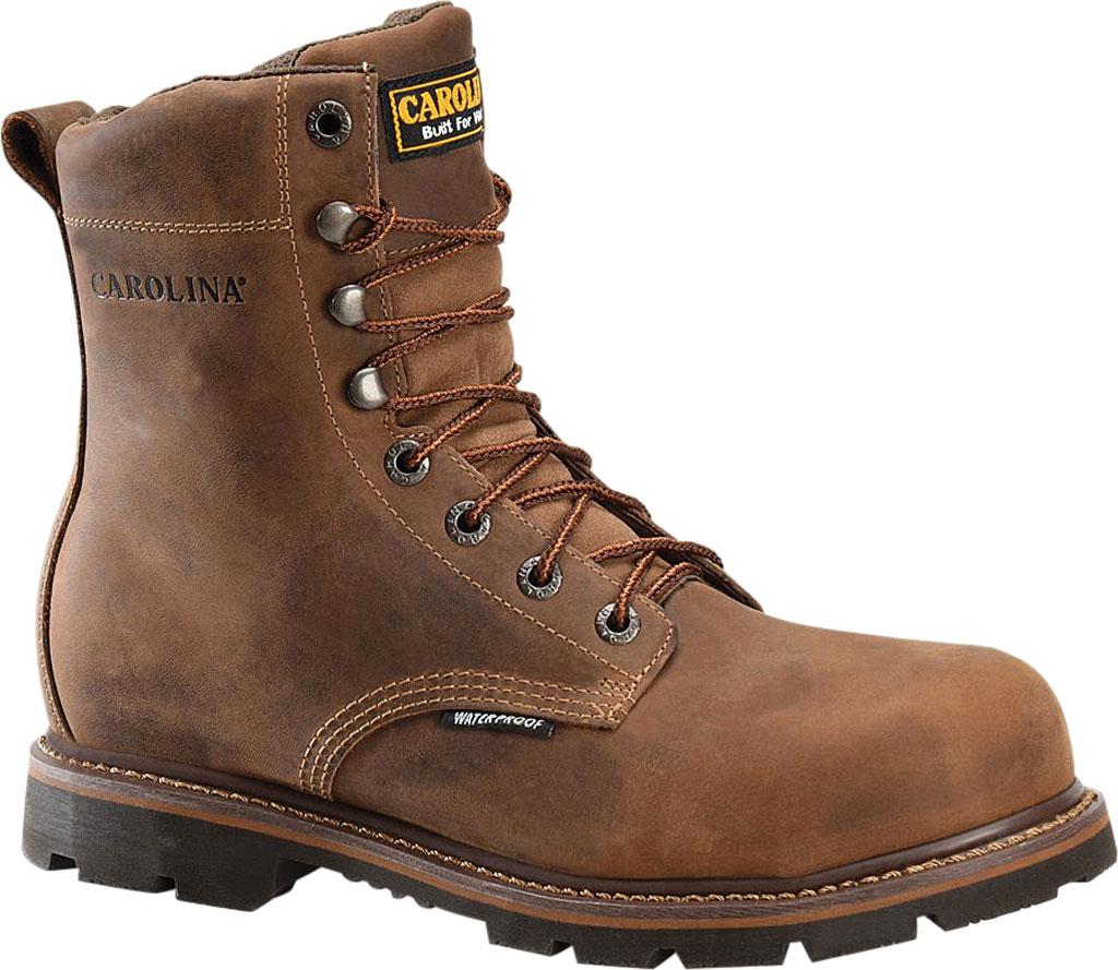 "Men's Carolina CA3057 8"" Installer Waterproof Soft Toe Work Boot, Mohawk RW Brown Leather, large, image 1"