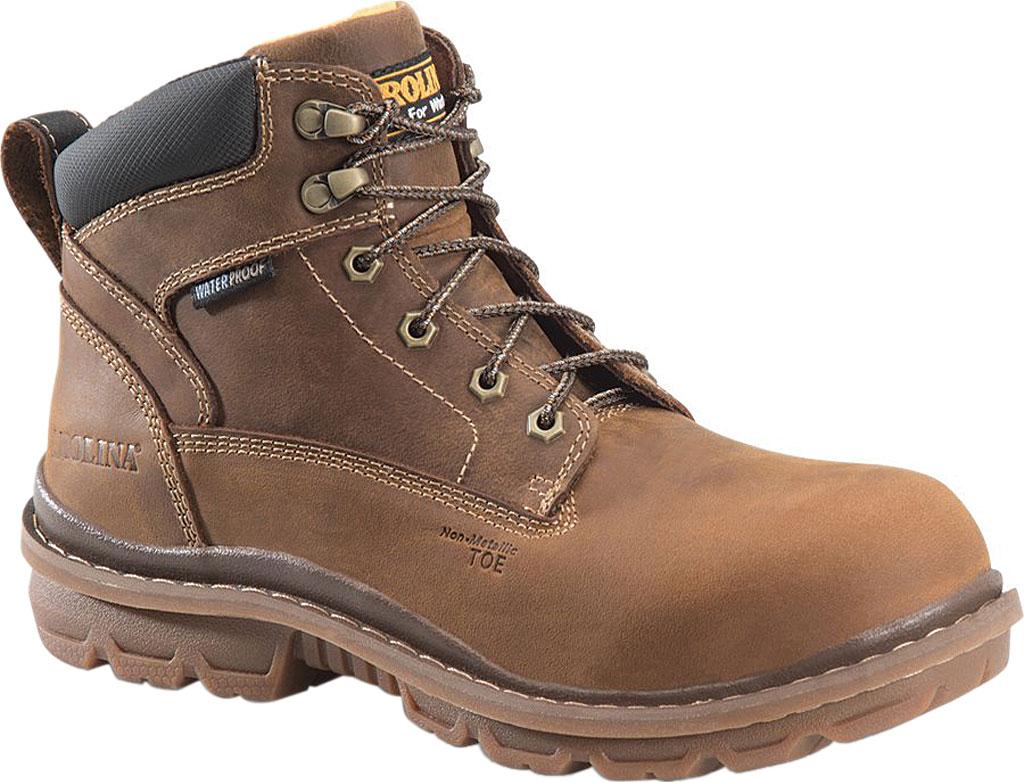 Men's Carolina CA3558 Dormite Lo Waterproof Comp Toe Work Boot, Neutral Mahogany Leather, large, image 1