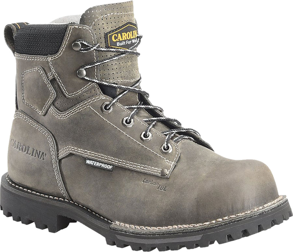 "Men's Carolina CA7532 6"" Pitstop Lo Waterproof Comp Toe Work Boot, Connection Alcatraz Leather, large, image 1"