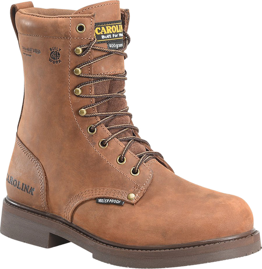 """Men's Carolina CA8045 8"""" Formwork Waterproof Insulated Work Boot, Copper Crazy Horse Leather, large, image 1"""