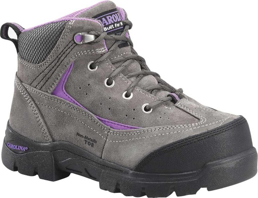 "Women's Carolina Reese 5"" Comp Toe Internal MetGuard Work Boot, Grey Nappa Suede Leather, large, image 1"